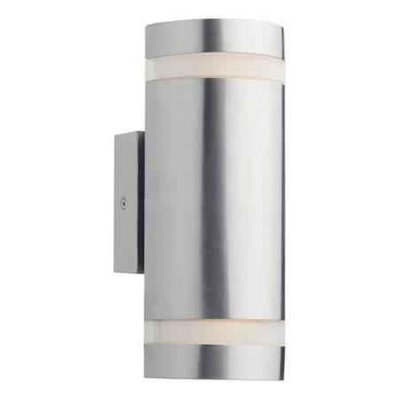 WESSEX 2LT Cylinder Kolor Stali Lampa Ścienna LED IP44