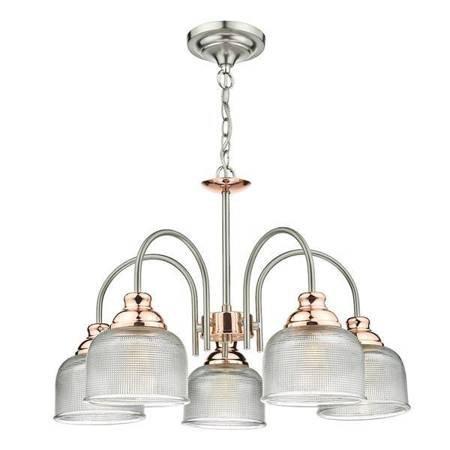 WHARFDALE 5LT Lampa Sufitowa Satyna Chrom Miedź Szkło